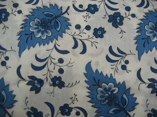 Blue floral on leaf - Japanese