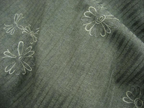 Olive Self Stripe with Embroidered Flowers